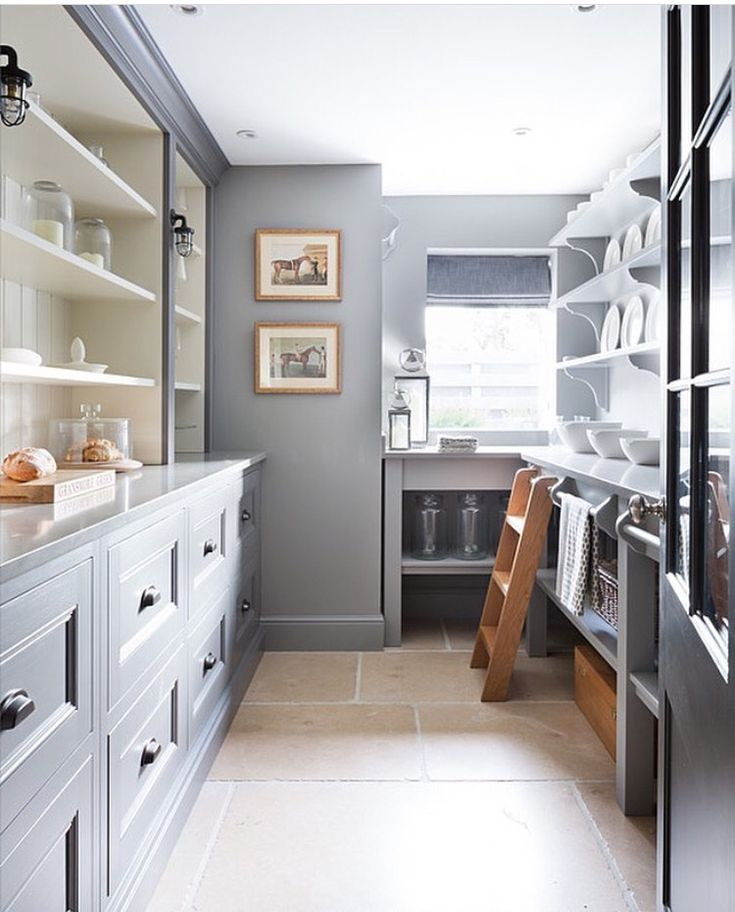 Love this take on the butler's pantry - and the demi-rolling ladder