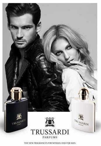 Anja Rubik i Tomaso Trussardi w kampanii reklamowej perfum Trussardi Donna i Trussardi Uomo