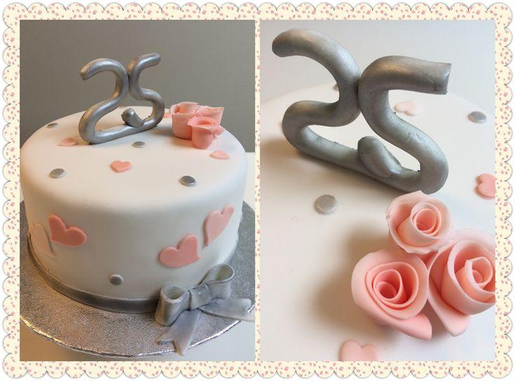 25 jarig huwelijk taartje