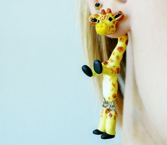 giraffe fake gauge, fake plug, two part earrings, camelopard Piercing, Fake Tunnel, Fake Expander, clinging earring, halloween front back on Etsy, $19.00