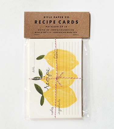 Lemon Recipe Cards by Rifle Paper Co.Rifle Paper, Crafts Ideas, Rifles Paper, Packaging, Lemon Recipe, Gift Cards Design, Recipe Cards, Invitation Cards, Invitations Cards