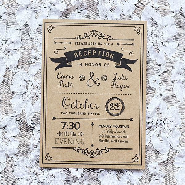 Vintage Rustic DIY Reception Only Invitation