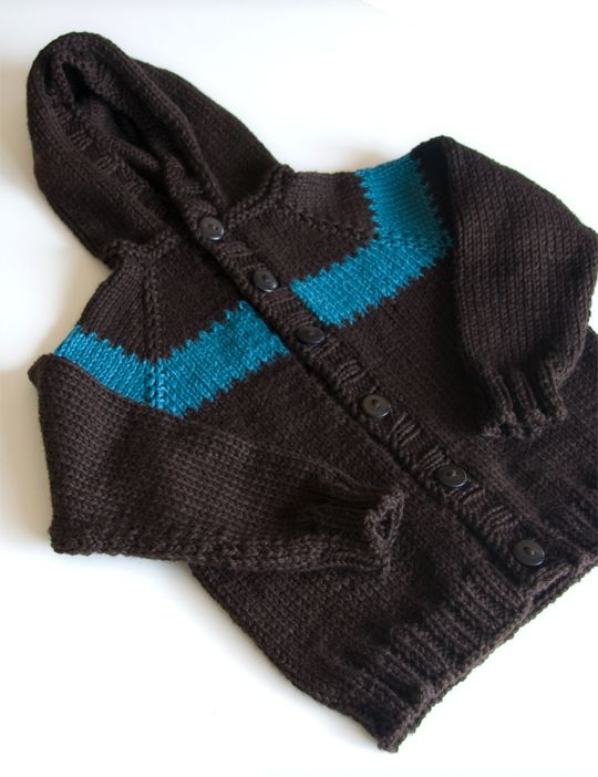 Toddler Raglan Hoodie ... this free knit pattern is worked from the top down