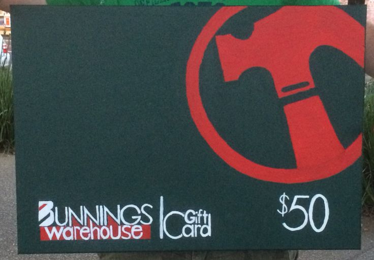 Canvas acrylic painting of a Bunnings voucher I made as a costume for a green theme birthday party.