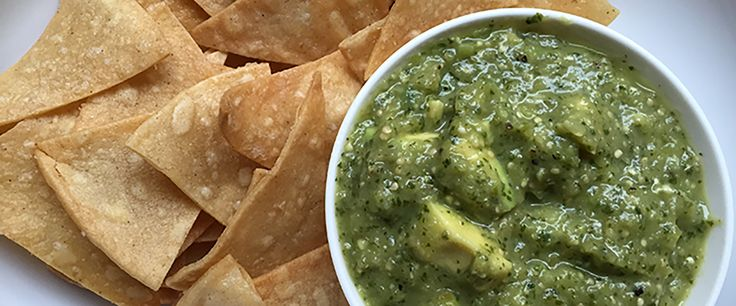 Tomatillo salsa and baked lime-cumin tortilla chips   Chrissy Teigen's ...