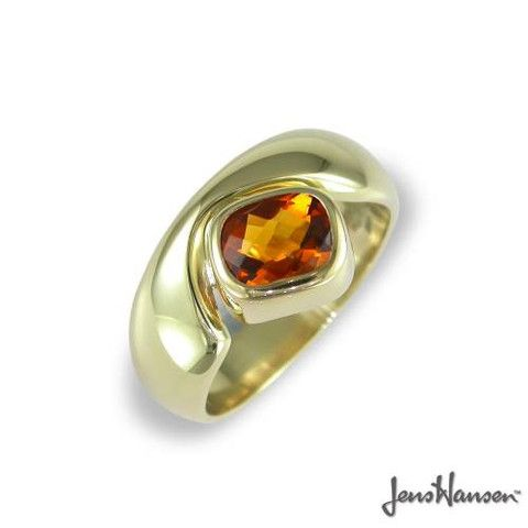 Cushion & chequerboard cut citrine in 14ct yellow gold JW211 style ring.