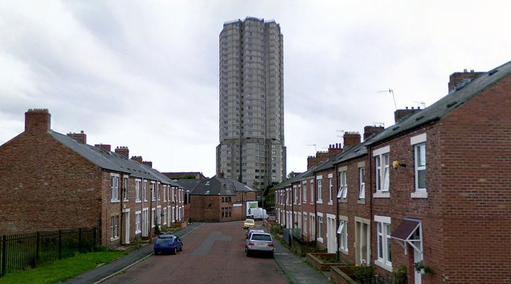 Derwent Tower - Housing (Demolished in 2012) - 1968-71 by Owen Luder - #architecture #googlestreetview #googlemaps #googlestreet #uk #dunston #brutalism #modernism