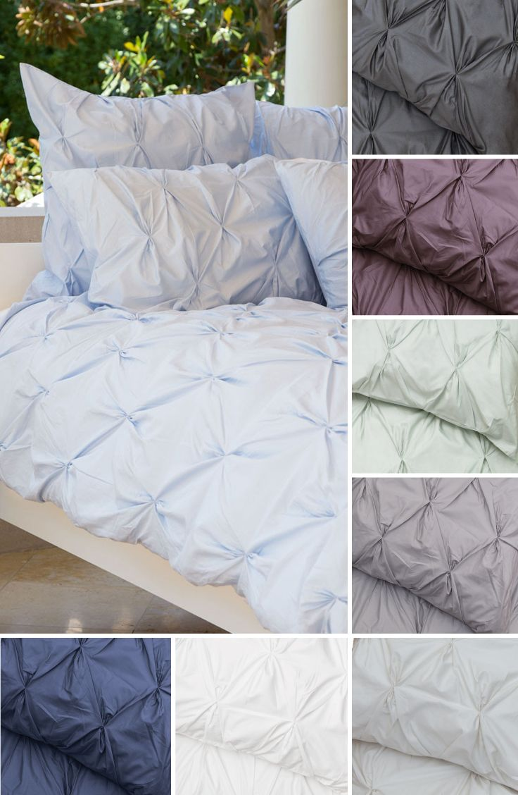 Sleep on a cloud with silky soft 400 thread count pintuck bedding and duvet covers for your modern home.