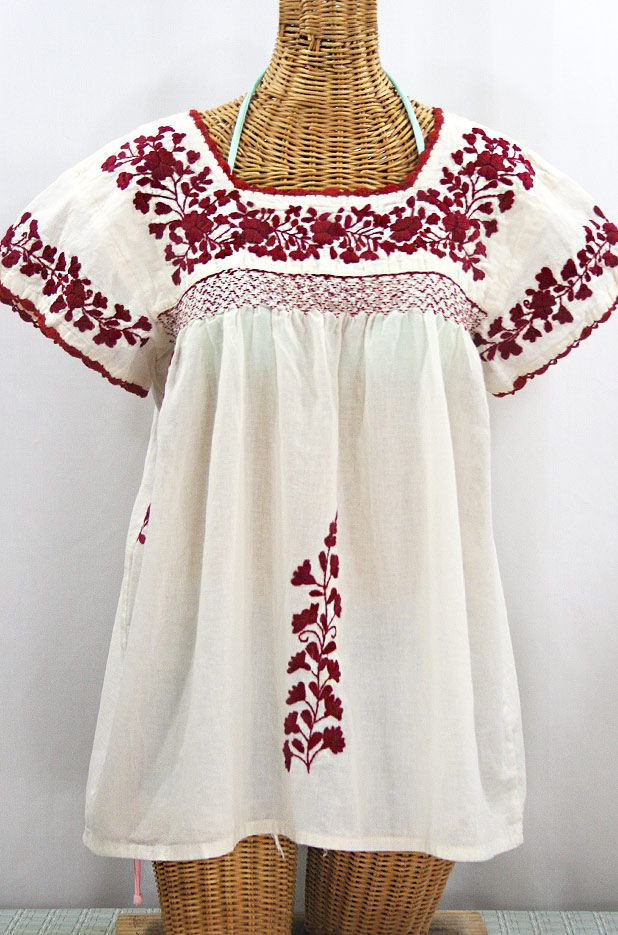 Embroidered Peasant Blouse La Marina Corta in Off White with Cocoa and Navy Embroidery ~ Size MEDIUM
