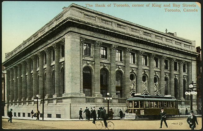 The Bank of Toronto, corner of King and Bay Streets, 1910...