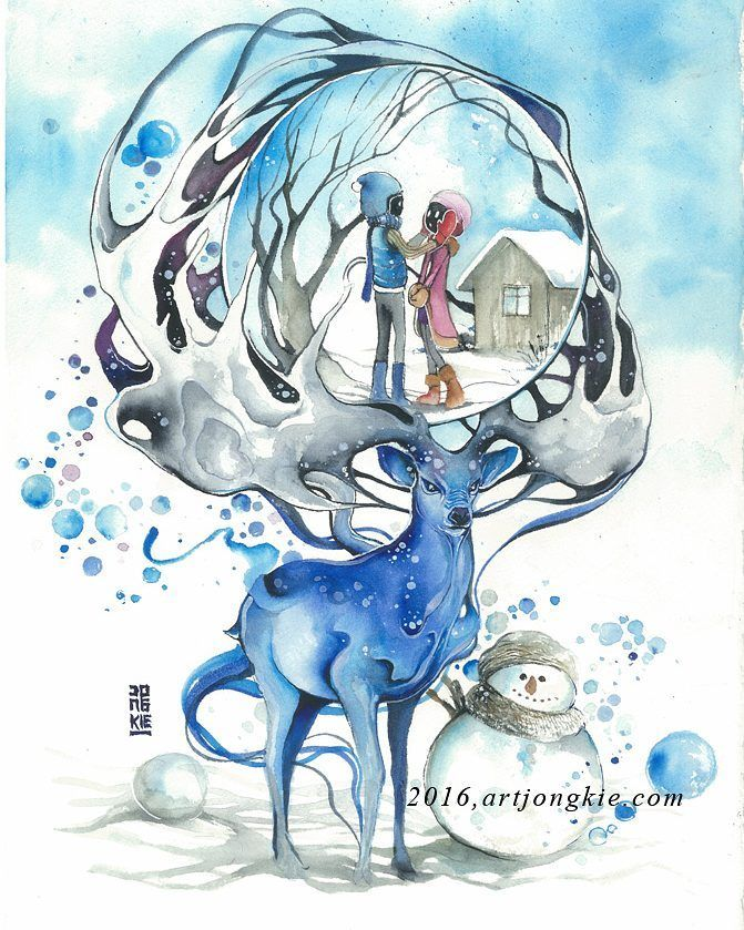 Just You & Me #watercolour #watercolor #art #artwork by #jongkie #bali by jongkie