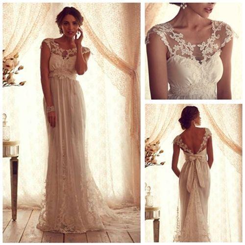 Romantisch Zarte Spitze Brautmode Column Rückenlos Hochzeitskleid Maßanfertigung | eBay