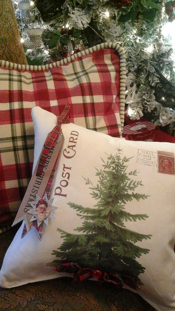 Christmas TreePost Card Holiday Pillow Cover by TheElegantClutter