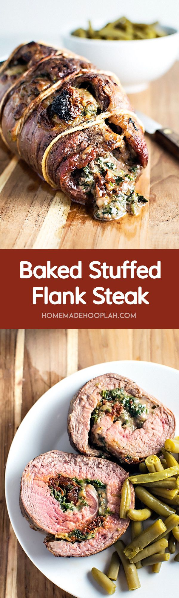 Baked Stuffed Flank Steak! Spice up your boring steak dinner by baking a fine cut of meat with spinach, mozzarella, and sun dried tomatoes.   HomemadeHooplah.com