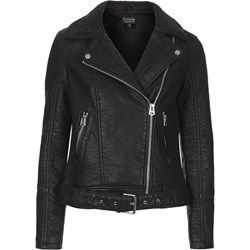 Faux Leather Borg Biker Jacket