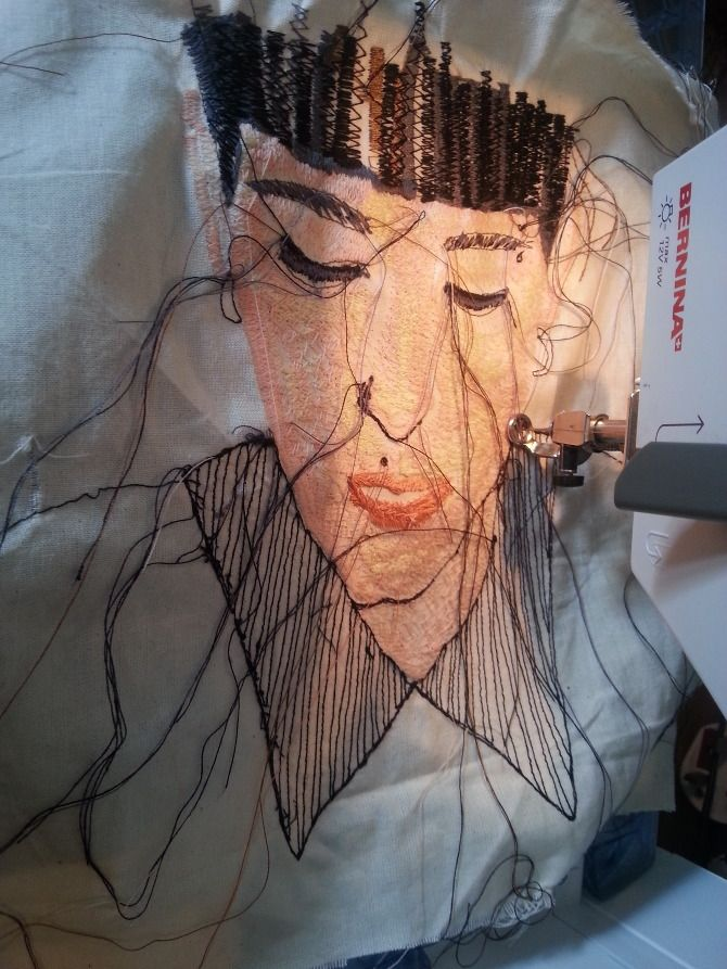 Embroidered Portraits - Harriet Popham Textiles