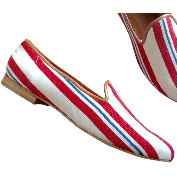 Pre-owned Ramon Tenza Red White Blue Taylor Flats (425 RON) ❤ liked on Polyvore featuring shoes, flats, red white blue, blue and white shoes, leather flats, blue and white flats, red shoes and red flats
