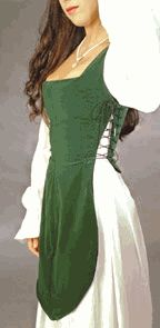The inset is worn over the Classic chemise and one comes with the German Gown. This listing is for an extra inset so you can change to a different color. The reversible to black inset provides a lift for your bosom and holds in your tummy. In medieval times, the inset might have been a complete dress extending to the floor. We chose to create this abbreviated design which just may have been the choice of our medieval ancestors. The inset is reversible and machine washable. $85