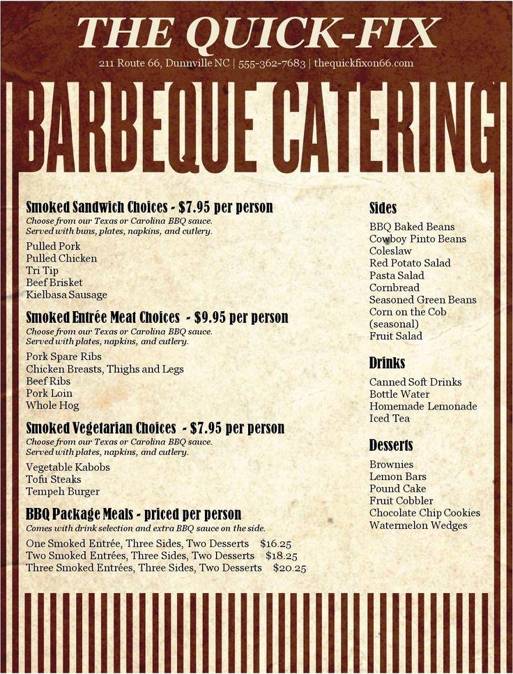 Barbeque Catering Menu Design Inspiration in 2019