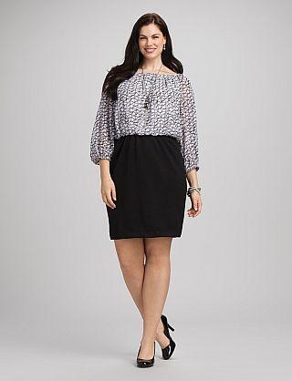 Plus Size Black and White Dress $56.00