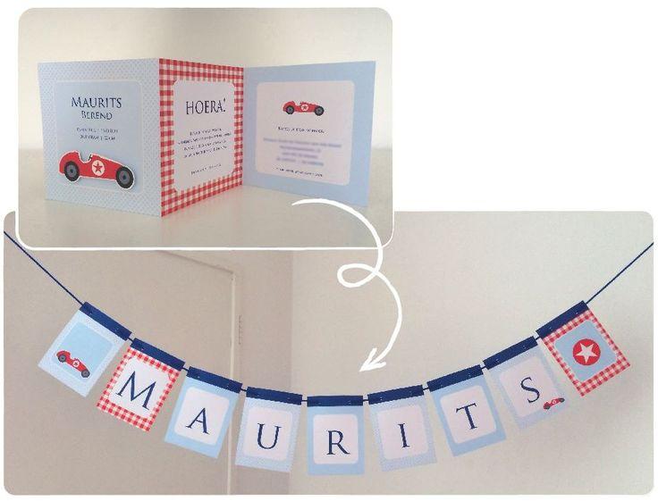 Vlaggenlijn in de stijl vh geboortekaartje op maat gemaakt. Leuk als cadeau of voor jezelf. Voor meer info: studiokidenko.nl