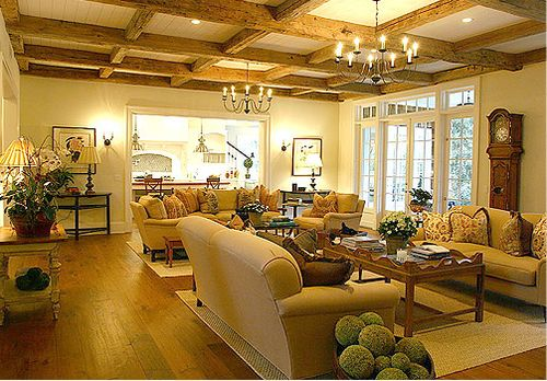 Fabulously warm and cozy country french great room i still like the idea of replacing the for Living room with 2 seating areas