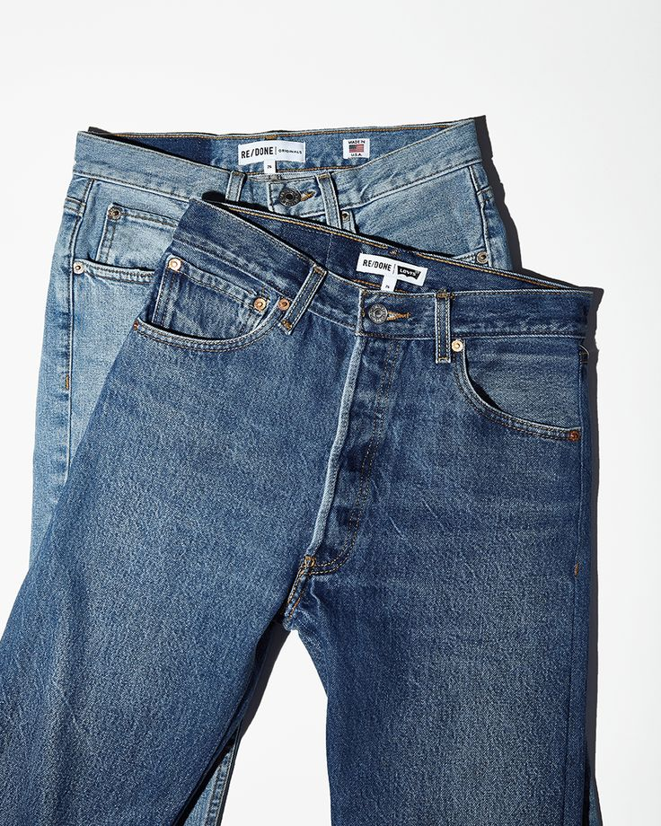 Wash and Fit / Shop new denim styles in every cut and color, featuring reconstructed Levi's by Re/Done. High Rise Flare Jeans, Re/Done Light Wash Stretch Jean, Re/Done