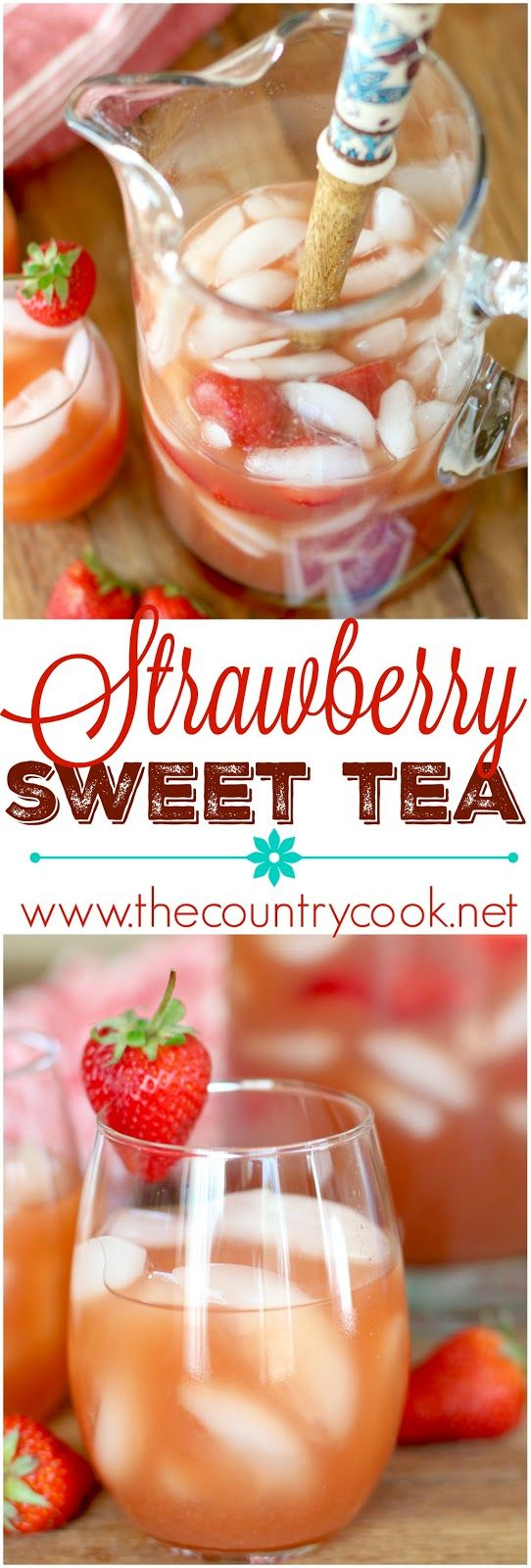 Strawberry Sweet Tea (Sugar Free) recipe (thanks to Equal®!) from The Country Cook. Summer in a glass. Perfect for parties or perfect for sitting on the porch on a hot day. Everyone fell in love with this drink when I made it! #EmbraceYourTaste #yummy #ad