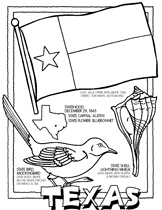 State Flags & Facts coloring pages for kids -free printables! Fabulous Texas!