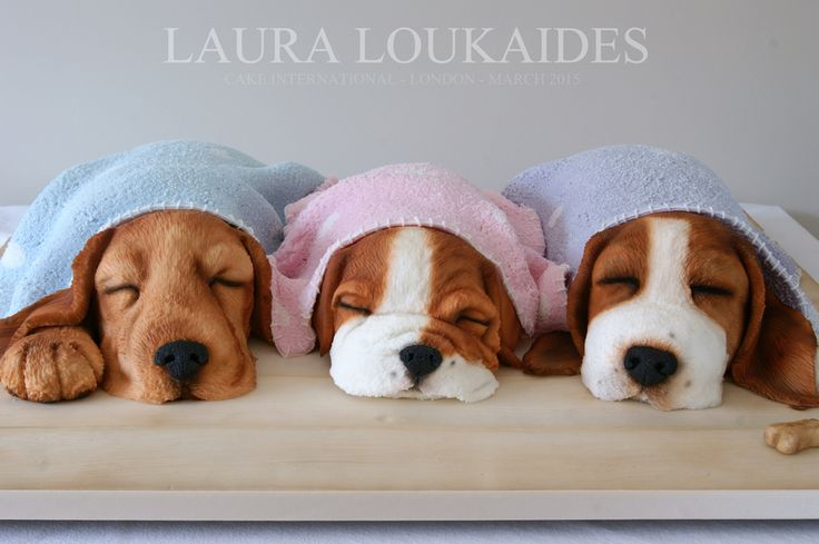 The Sleeping Puppies - Gold Medal - Cake International - by Laura Loukaides #lauraloukaides