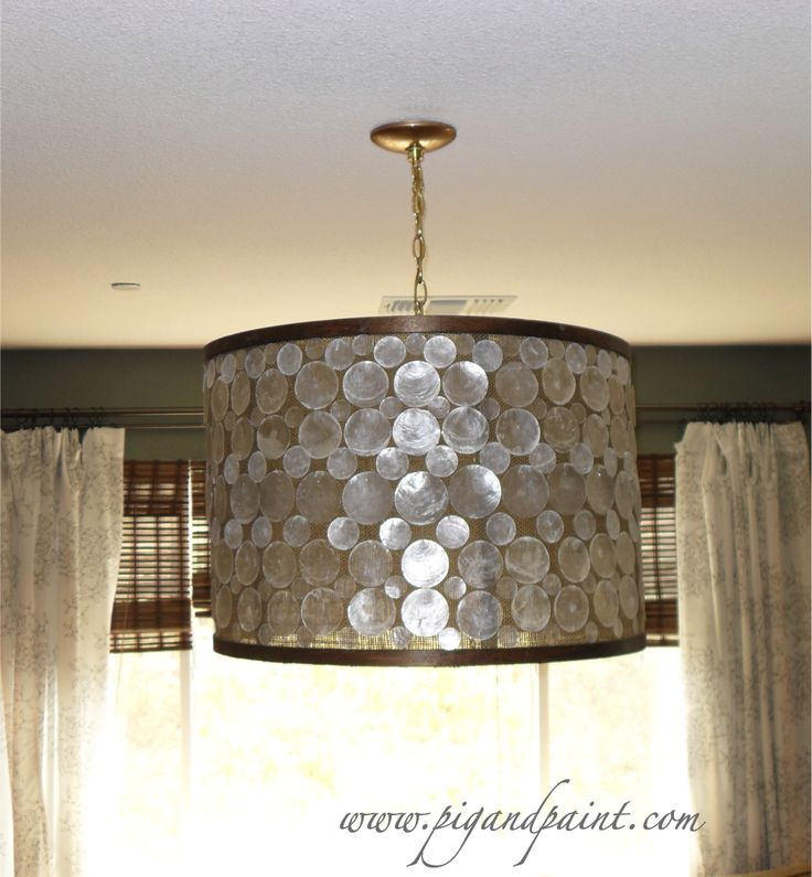 how to make a diy designer capiz drum shade chandelier a la oly studio serena