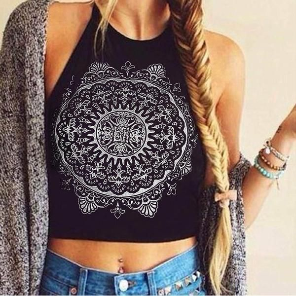 mandala tank top, crop top, bustier, summer beach black crop top - Crystalline