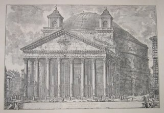 "pantheon  italian contemporary engraving  17 x 27"" $200"