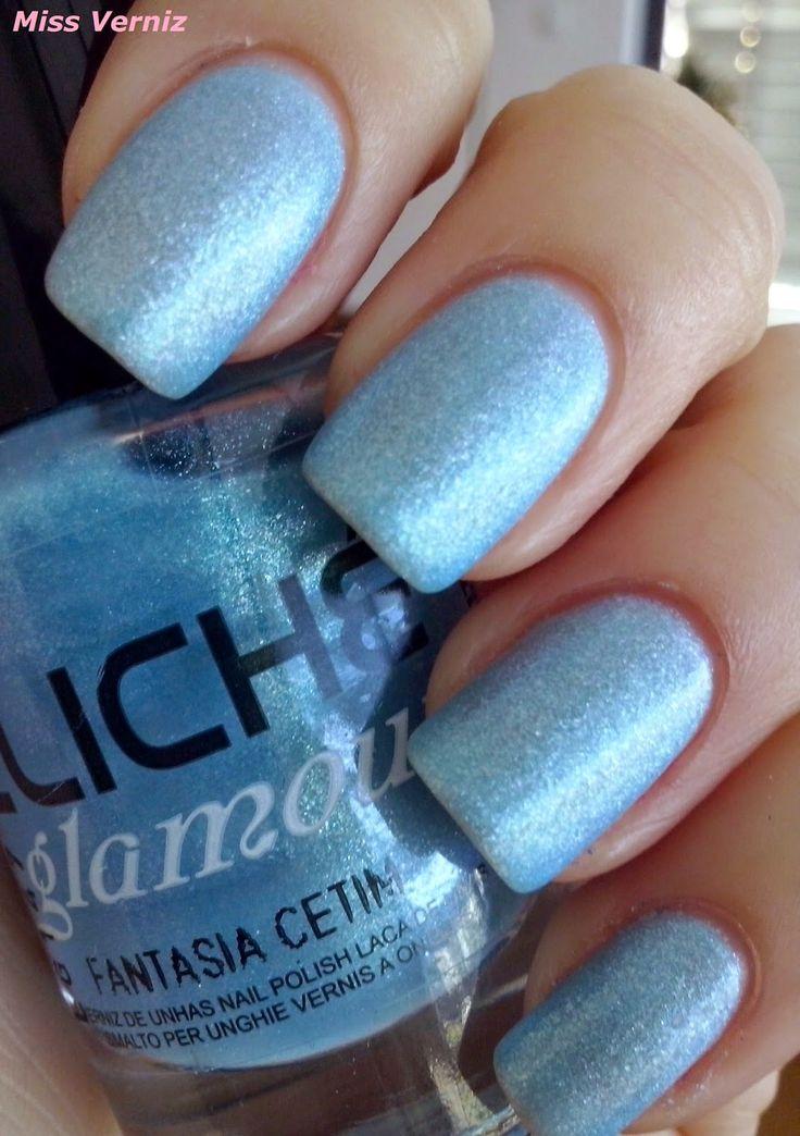 """Miss Verniz: Cliché Colecção Glamour Cetim : Fantasia Cetim...!!!!  tom de azul bem clarinho com um shimmer prata e azul claro bem pequenino incorporado na formula, e um acabamento acetinado que lhe confere um brilho """"baço"""""""