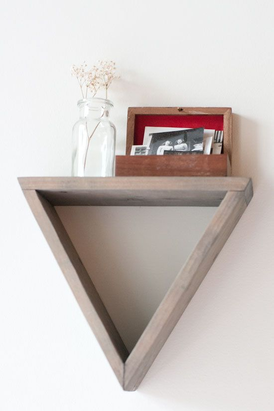 Geometric triangle shelf vignette