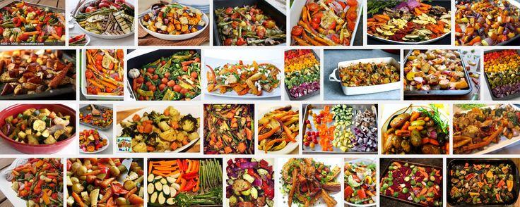 Groenten die geschikt zijn om te roosteren vind je hieronder vermeld met het recept. Roosteren doe je in de voorverwarmde hete oven,