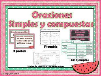 Este producto consiste de varias actividades para que los estudiantes puedan practicar y aprender bien el concepto de las oraciones simples y compuestas. Este producto incluye 30 tarjetas con oraciones para identificarlas y colocarlas en el lugar correcto.