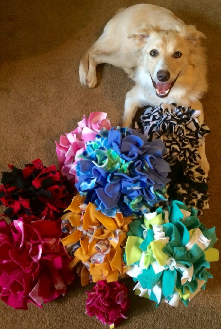 Pom Pom Treat Balls:  put treats, squeakers, or simply play with the ball as a tug or to fetch.  4 inch = $10 6 inch = $15 8 inch = $20 10 inch = $25 Plus shipping  Please supervise you dog when playing with toys.  Most dog toys should be put away when yo