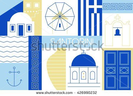 Santorini island flat and linear illustration. Vector illustration with main landmarks and icons. For magazines, web, tourism. Travel to Greece template.