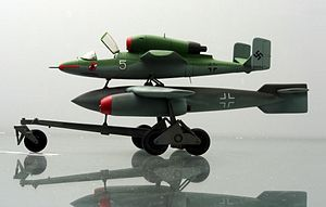 Model of the proposed Mistel Heinkel He 162 with an Arado E.377a glide bomb at the Technikmuseum Speyer