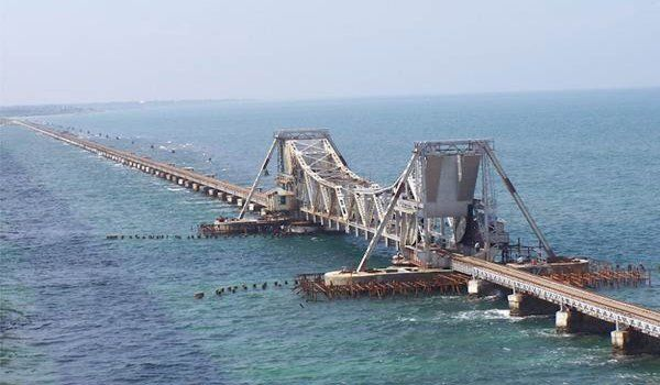 Pamban Bridge connects the tiny island of Rameshwaram with mainland India across the Palk Straits