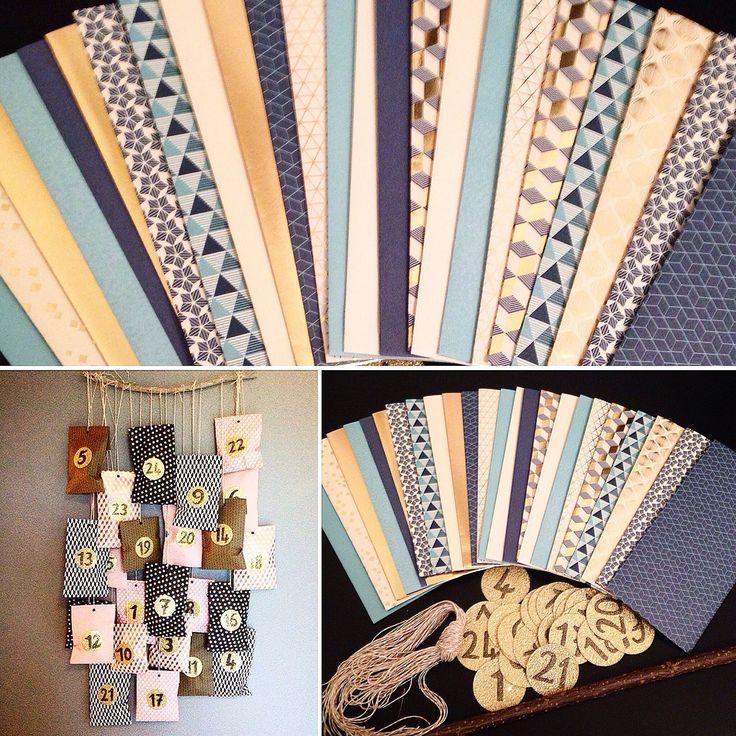 Calendrier de l'avent - kit complet esprit scandinave bleu et or : Calendriers par crea-graphic