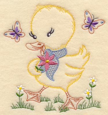 Machine Embroidery Designs at Embroidery Library! - Duckling and Butterflies (Vintage)