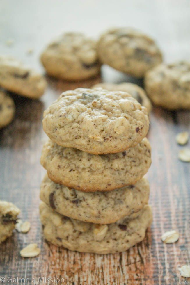 Thick and Chewy Oatmeal Chocolate Chunk Cookies | Recipe on galonamission.com