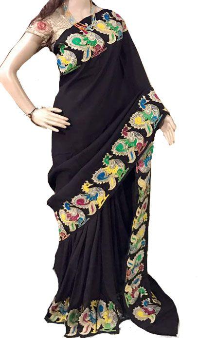 Black Kalamkari Applique Work Pure Silk Saree