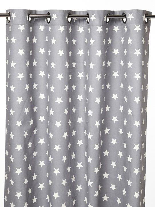 Ambiance céleste, envolée de pois ou jeu de lignes sur ce rideau en pur coton bien épais, au tomber parfait. DétailsOeillets en acier brossé ou couleu
