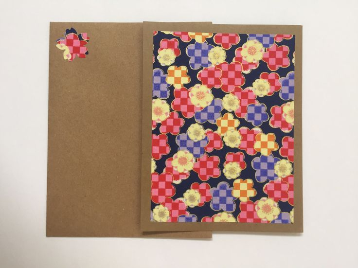 Japanese Yuzen Washi Note Cards, Checkered Flowers, Craft Card Stock Paper, Craft Envelopes, Yuzen Washi Paper, Blank Cards, Handmade by Hellacrafty415 on Etsy