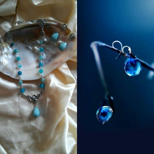 Blue agate and silver necklace