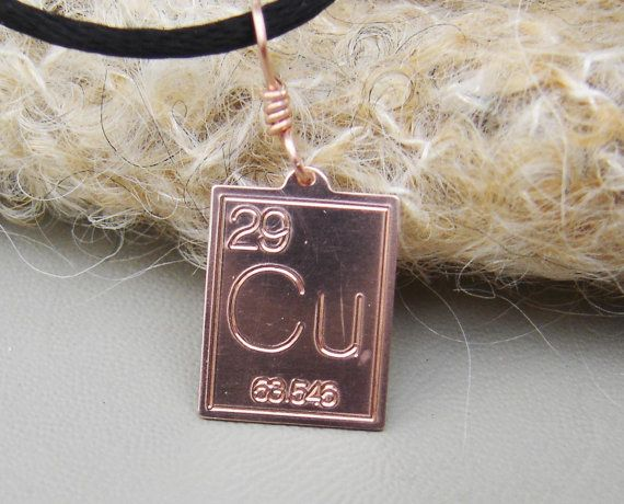 Copper Periodic Table Pendant Atomic Symbol by nicholasandfelice
