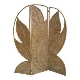 Split Bamboo Palm Leaf Screen Folding Room Divider
